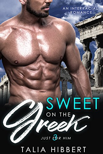 cover of Sweet on the Greek: a bare-chested man with many abs stands in front of, like, some Greeky architecture